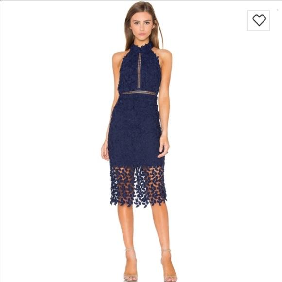 9881c5f2697e Bardot Dresses | Navy Blue Lace Midi Dress | Poshmark